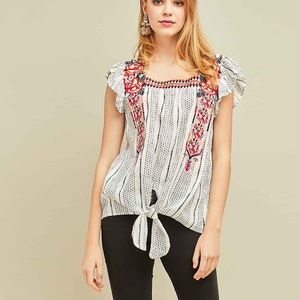 NWT // Entro embroidered ruffle sleeve top - small